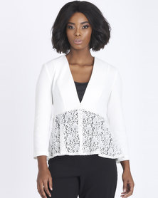 Contempo Lace Combo Jacket Ivory
