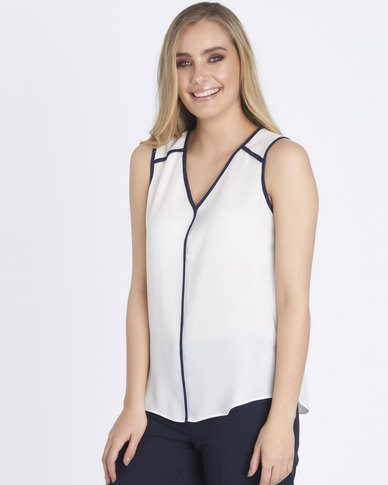 Contempo Contrast Binding Top Ivory