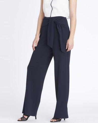 Contempo Bow Pants Blue