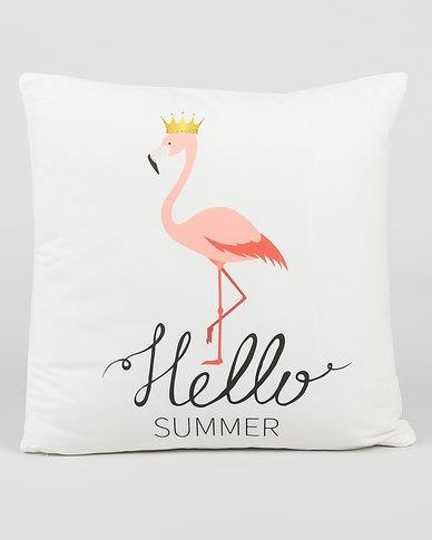 Utopia Hello Summer Flamingo Cushion Cover Beige