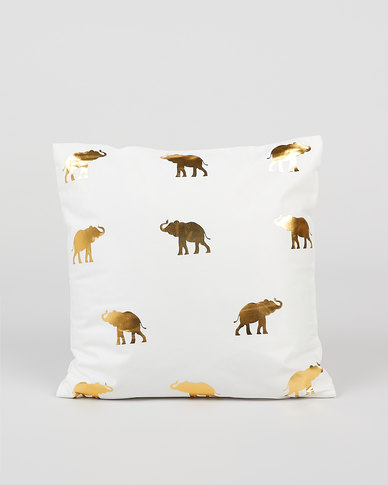 Utopia Foil Elephant Scatter Cushion Cover Gold