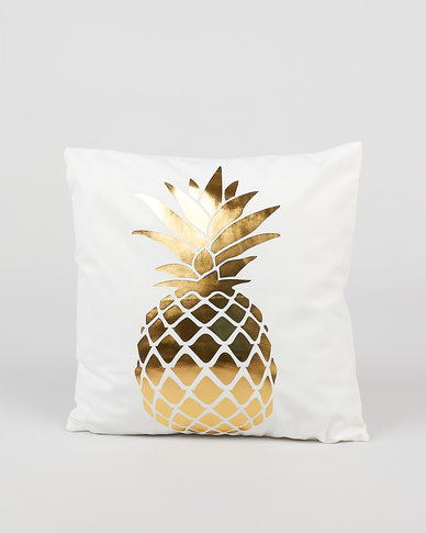 Utopia Foil Pineapple Scatter Cushion Cover Gold