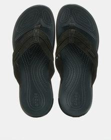 Crocs Santa Cruz Leather Flip Flops Black