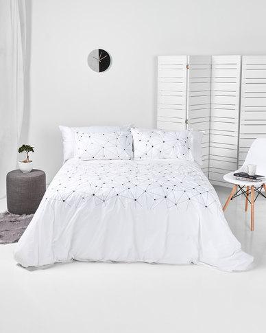 Utopia Stars Aligned Duvet Cover Set White