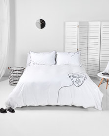 Utopia Audrey Visage Duvet Cover Set White
