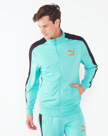 Puma Sportstyle Prime Archive T7 Track Jacket Blue Turquoise