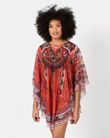 Joy Collectables Poncho Digital Print Kaftan Orange