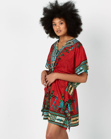 Joy Collectables Short Kaftan African Theme Red