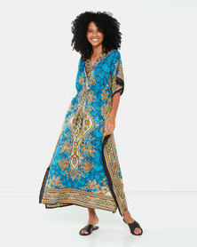 Joy Collectables Paisley Long Kaftan Blue