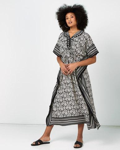 Joy Collectables Batik Print Long Kaftan Black