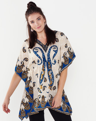 Joy Collectables Paisley Short Kaftan White/Blue