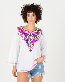 Joy Collectables With Pink Detail Short Kaftan White