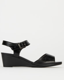 Pierre Cardin Peep Toe Ankle Strap Wedges Black