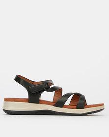 Pierre Cardin Strap Wedge Sandals Black
