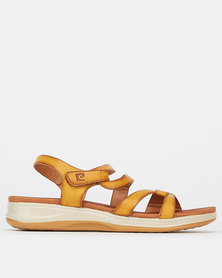 Pierre Cardin Strap Wedge Sandals Camel