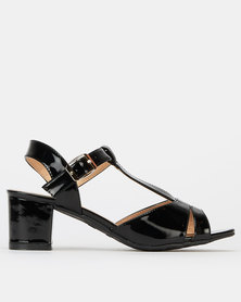Pierre Cardin Multi Strap Block Heels Black