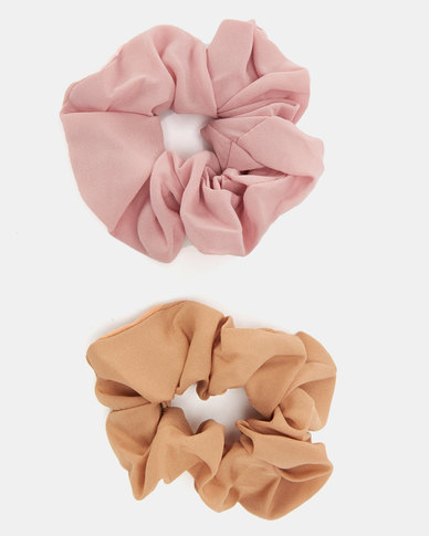 All Heart 2 Pack Scrunchie Hair Tie Pink & Nude