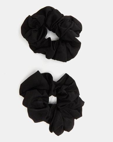 All Heart 2 Pack Scrunchie Hair Ties Black