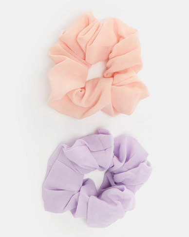 All Heart 2 Pack Scrunchie Hair Ties Lavender & Peach