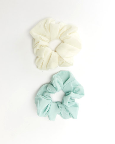 All Heart 2 Pack Scrunchie Hair Ties White & Mint