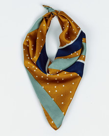 All Heart Printed Scarve Hair Tie Mustard & Blue