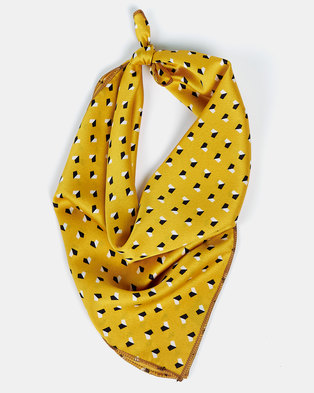 All Heart Printed Scarve Hair Tie Mustard
