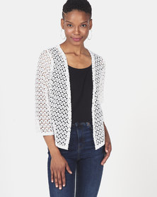 Queenspark Knit Lace Bolero Jacket White