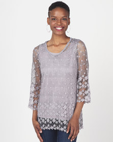 Queenspark Crochet Border Design Knit Top Grey