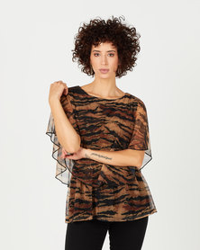 Queenspark Double Layer Animal Mesh Knit Top Brown