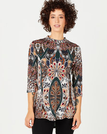 Queenspark Feather Print High Low Knit Top Multi