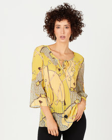 Queenspark Pleated Chain Print Woven Blouse Yellow
