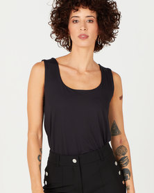 Queenspark Formal Core Knit Cami Black