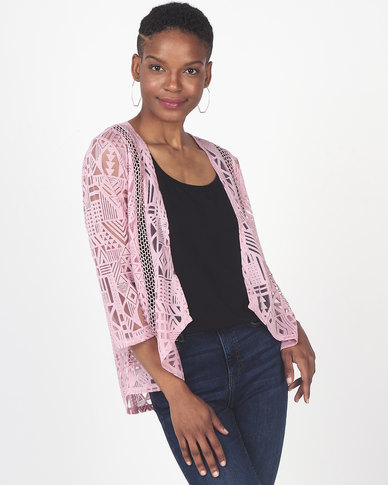 Queenspark Knit 3/4 Sleeve Cover Up Jacket Pink