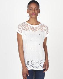 Queenspark Cutout Short Sleeve Knit Top White