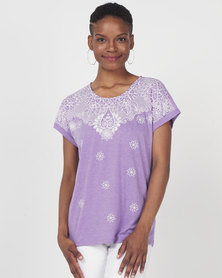 Queenspark Fancy Print Design Short Sleeve Knit Top Lilac