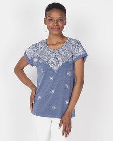 Queenspark Fancy Print Design Short Sleeve Knit Top Blue