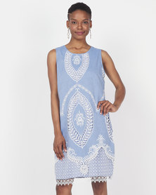 Queenspark Embroidered Sleeveless Woven Dress Blue