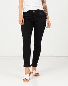 Queenspark Zip Pocket Detail Denim Jeans Black