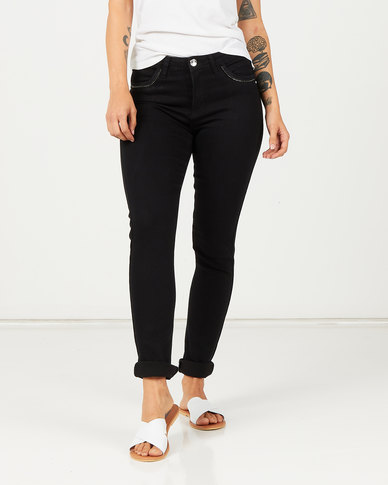 Queenspark Zip Pocket Detail Denim Jeans Black
