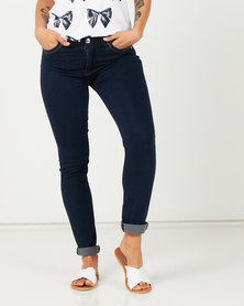 Queenspark Zip Pocket Detail Denim Jeans Indigo
