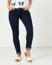 Queenspark Zip Pocket Detail Denim Jeans Indigo