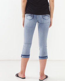 Queenspark Core Woven Denim Capri With Turn Up Blue