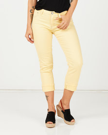 Queenspark Core Woven Denim Capri With Turn Up Yellow