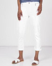 Queenspark Zip Pocket Detail Capri Denim  White