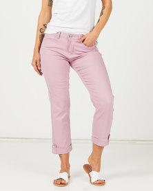 Queenspark Zip Pocket Detail Capri Denim Pink