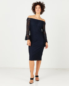 Queenspark Draped Cuff Stretch Lace Knit Dress Navy