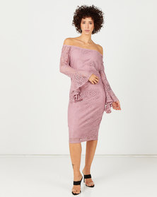 Queenspark Draped Cuff Stretch Lace Knit Dress Pink