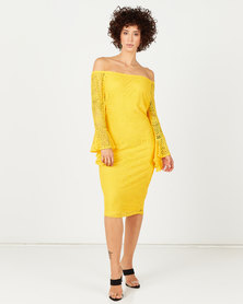 Queenspark Draped Cuff Stretch Lace Knit Dress Yellow