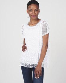 Queenspark Fancy Short Sleeve Knit Top White