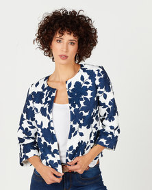 Queenspark Damask Rose Print Woven Jacket Navy